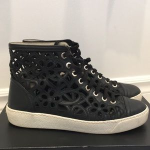 Chanel Black Lasercut Camellia Sneakers Size 37